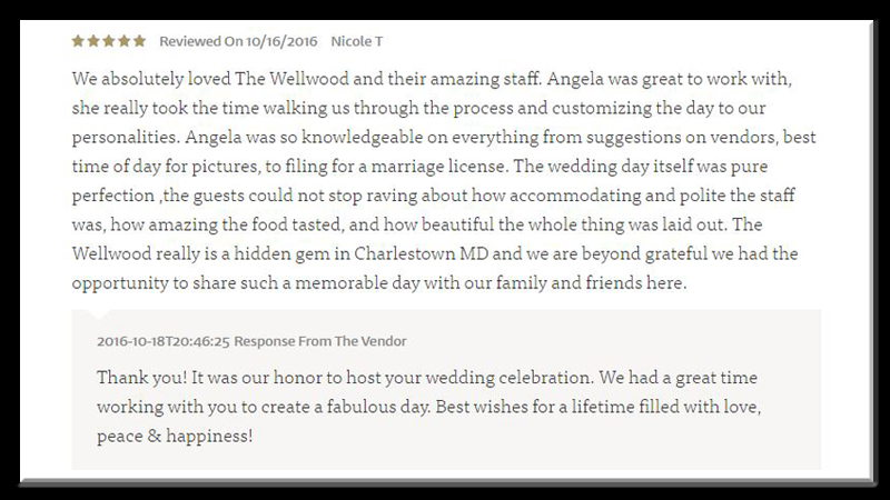 happy client wedding testimonial Wellwood