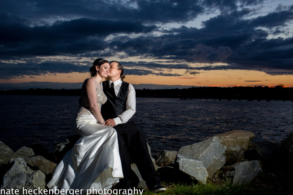 Beautiful sunset weddings on the northeast river in Maryland